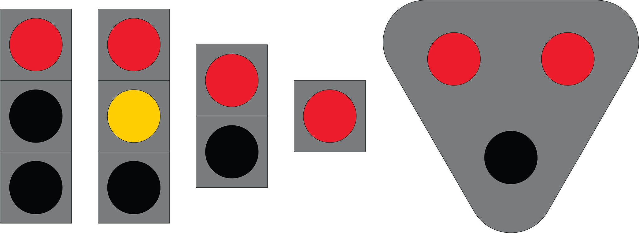 Liikennevalo-opastin 1:Kiinteä punainen valo