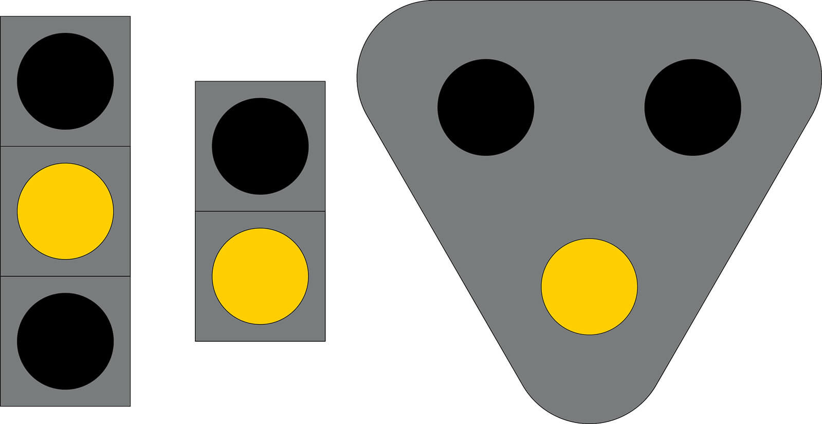 Liikennevalo-opastin 3:Kiinteä keltainen valo